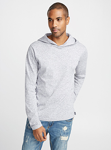 Crossover collar hooded sweater