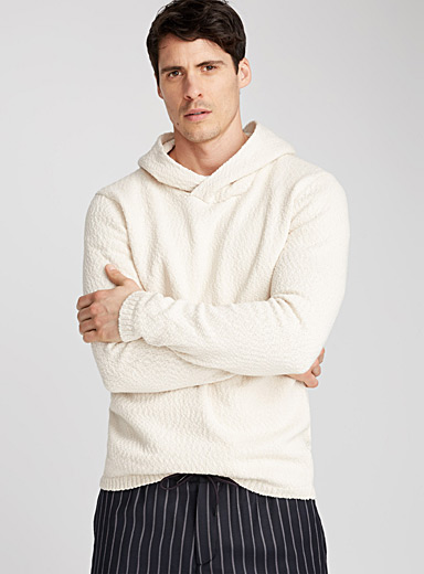 Crossover hood raw sweater