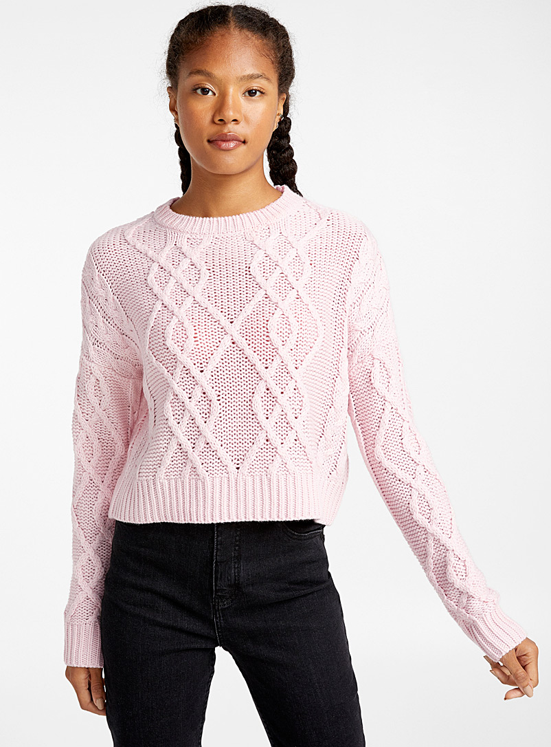 Cropped Recycled Polyester Cable Sweater by Twik