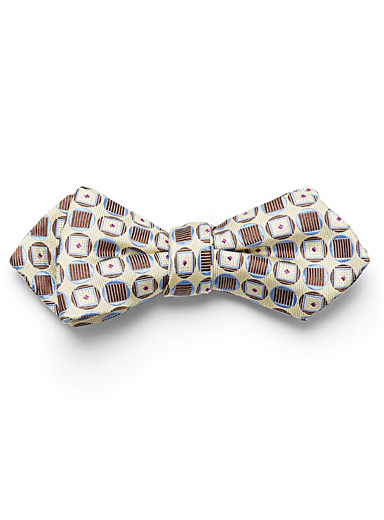 Atkinsons Light Yellow Geometric bow tie for men