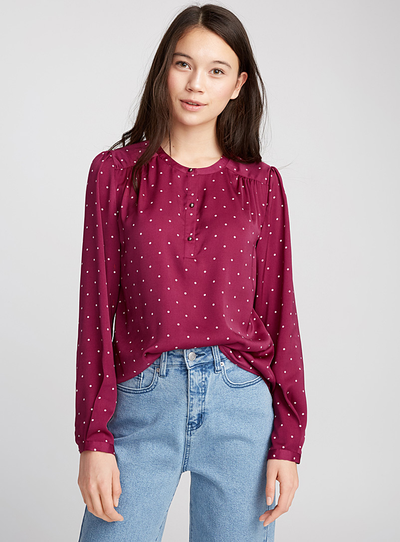 Jewel-button blouse - Blouses - Light Red