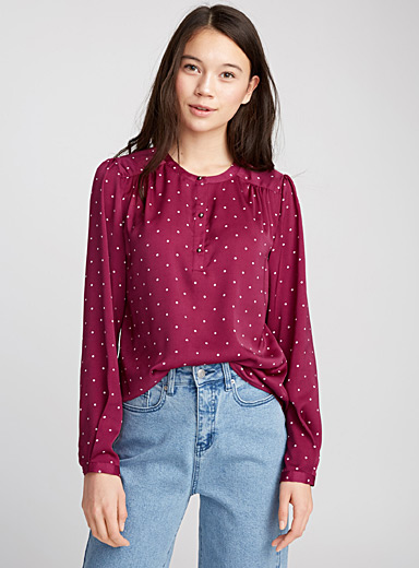 Jewel-button blouse