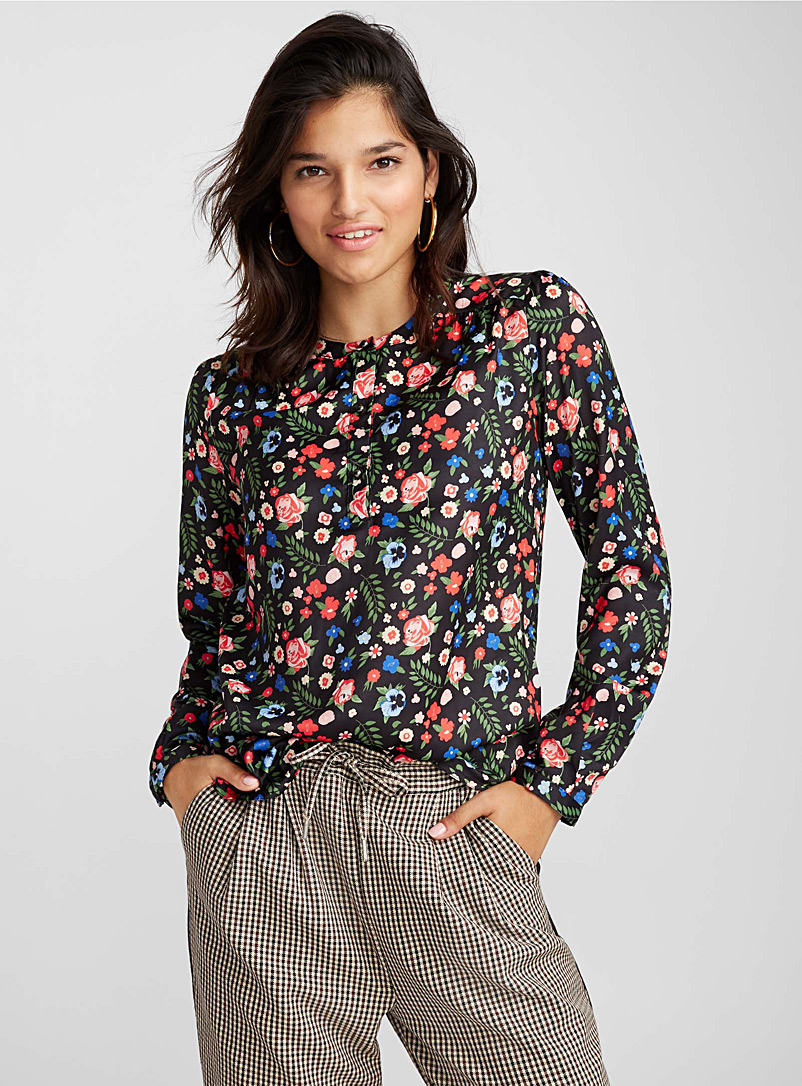 Jewel-button blouse - Fluid - Patterned Grey