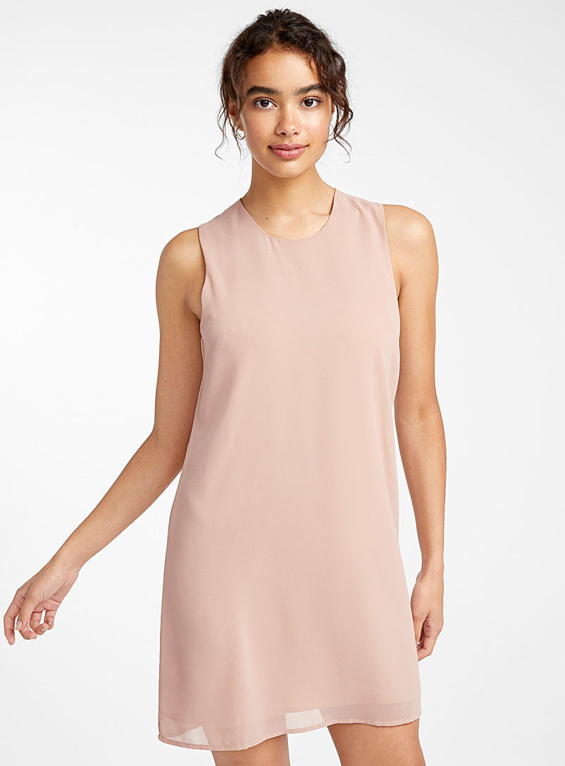 Zip-back voile dress - Straight - Pale pink