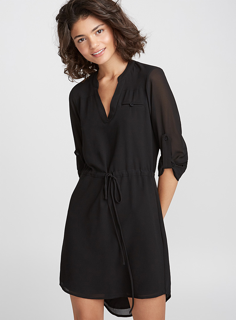 Voile shirtdress - Mini - Black