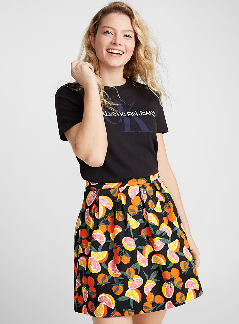 Mega motif skater skirt - Short - Black