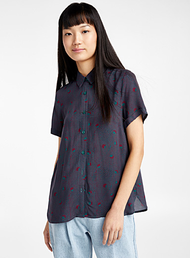 Pure viscose short-sleeve shirt