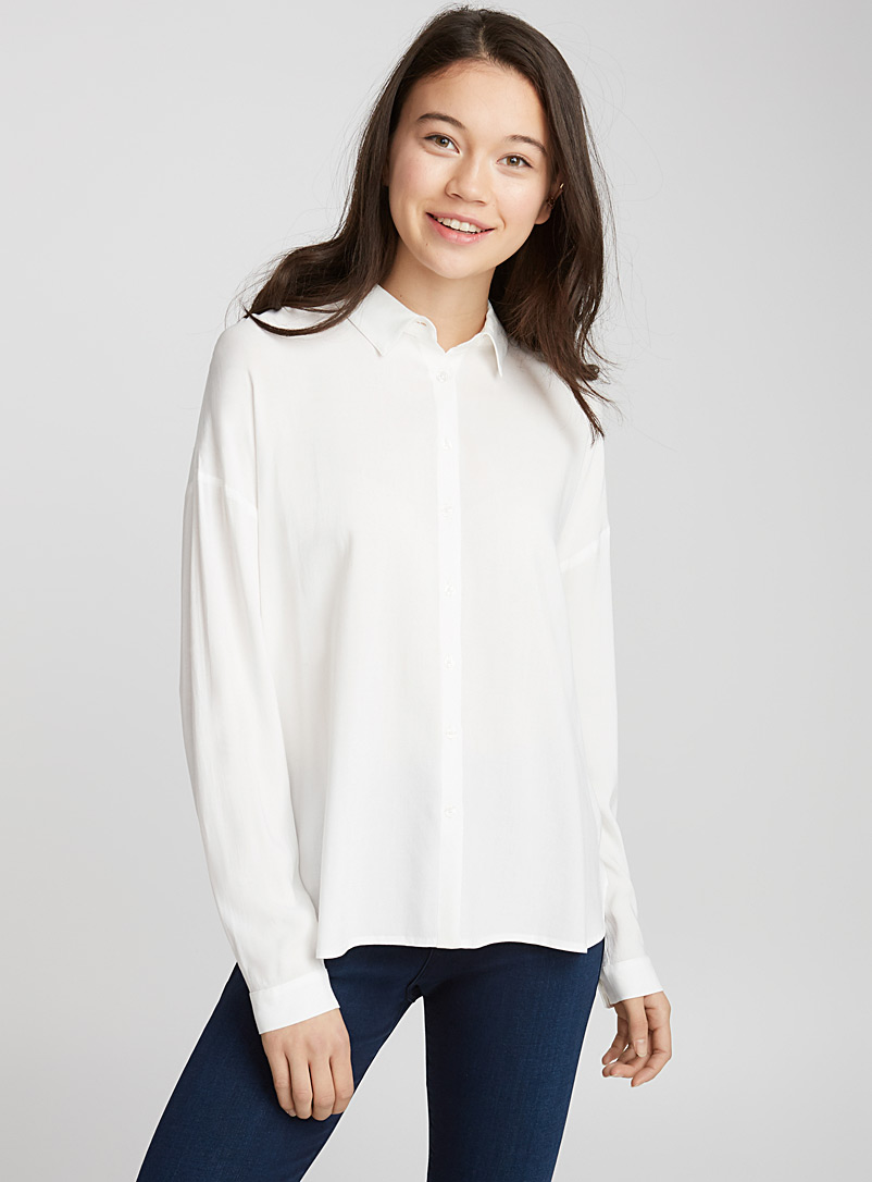 Fluid woven shirt - Shirts - Ivory White