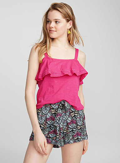 Belted rayon shorts