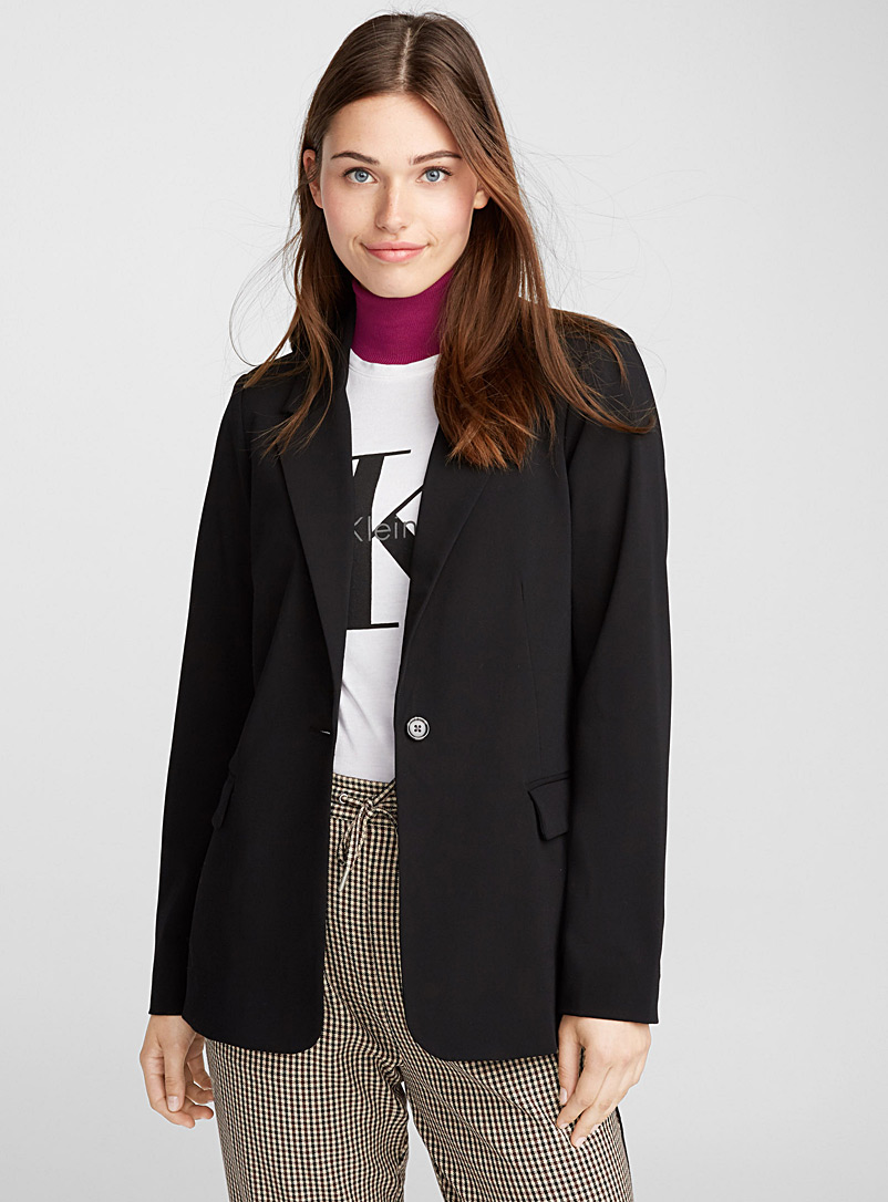 Single-button rayon jacket - Blazers - Black