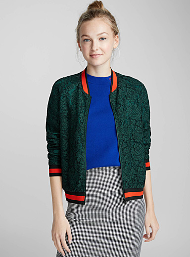 Athletic lace bomber jacket