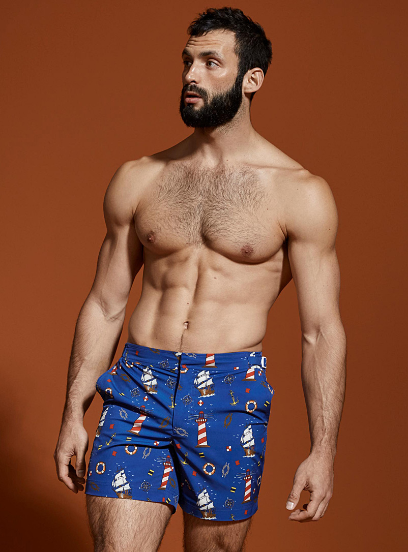 Recycled fibres swim trunk - Urban Trunks - Patterned Blue