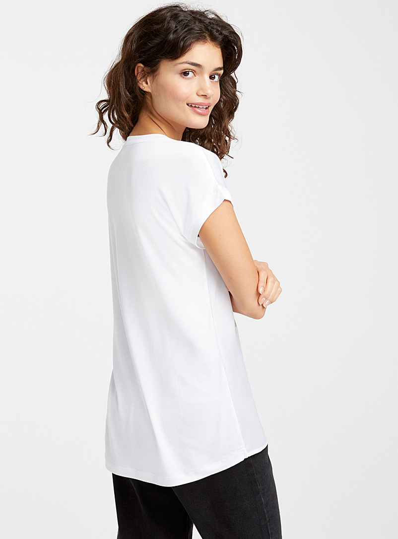 Silky printed tee - Blouses - Black and White