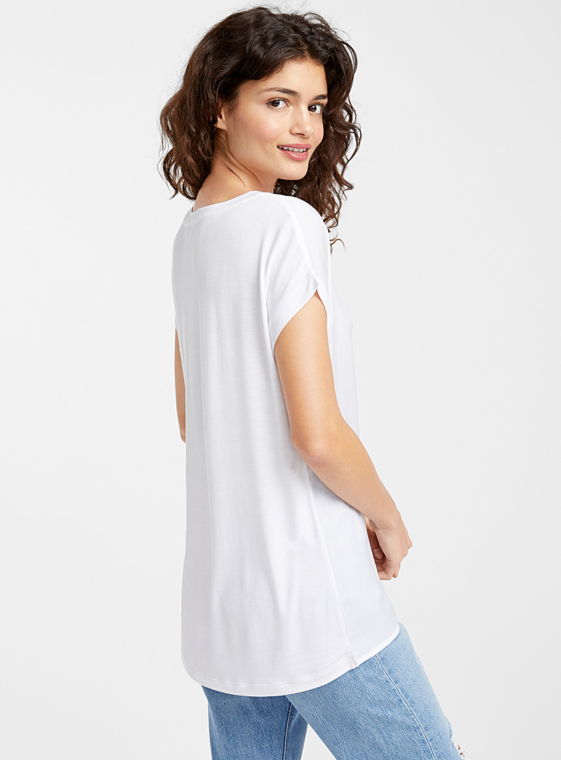 Silky printed tee - Blouses - Patterned White