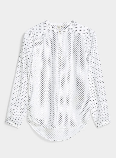 Twik Black and White Three-button printed blouse for women