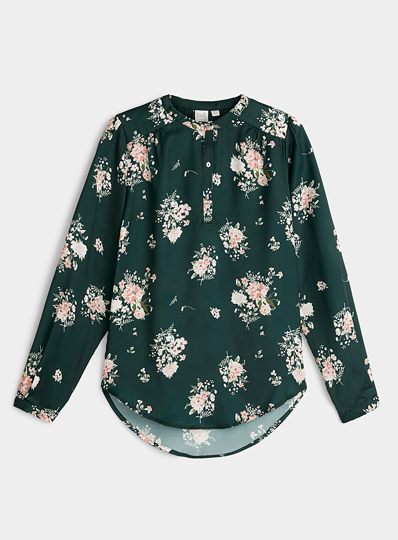 Twik Green Three-button printed blouse for women