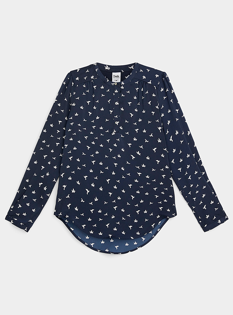 Twik Patterned Black Three-button printed blouse for women