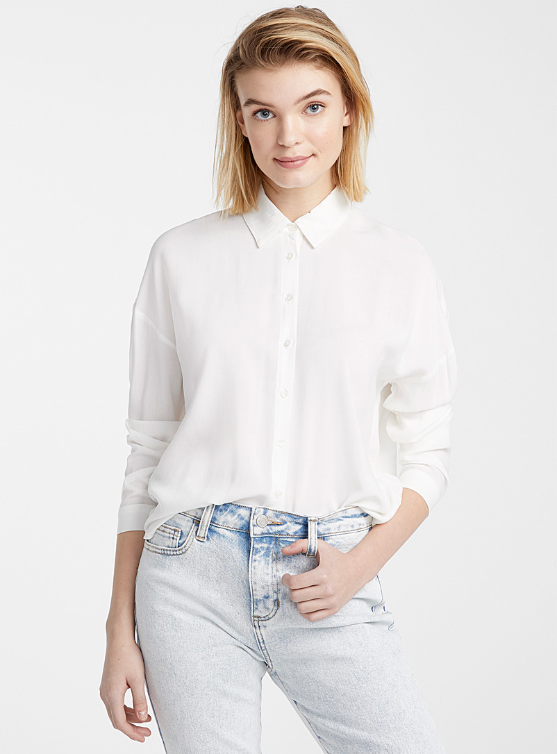 Fluid loose shirt - Shirts - Ivory White