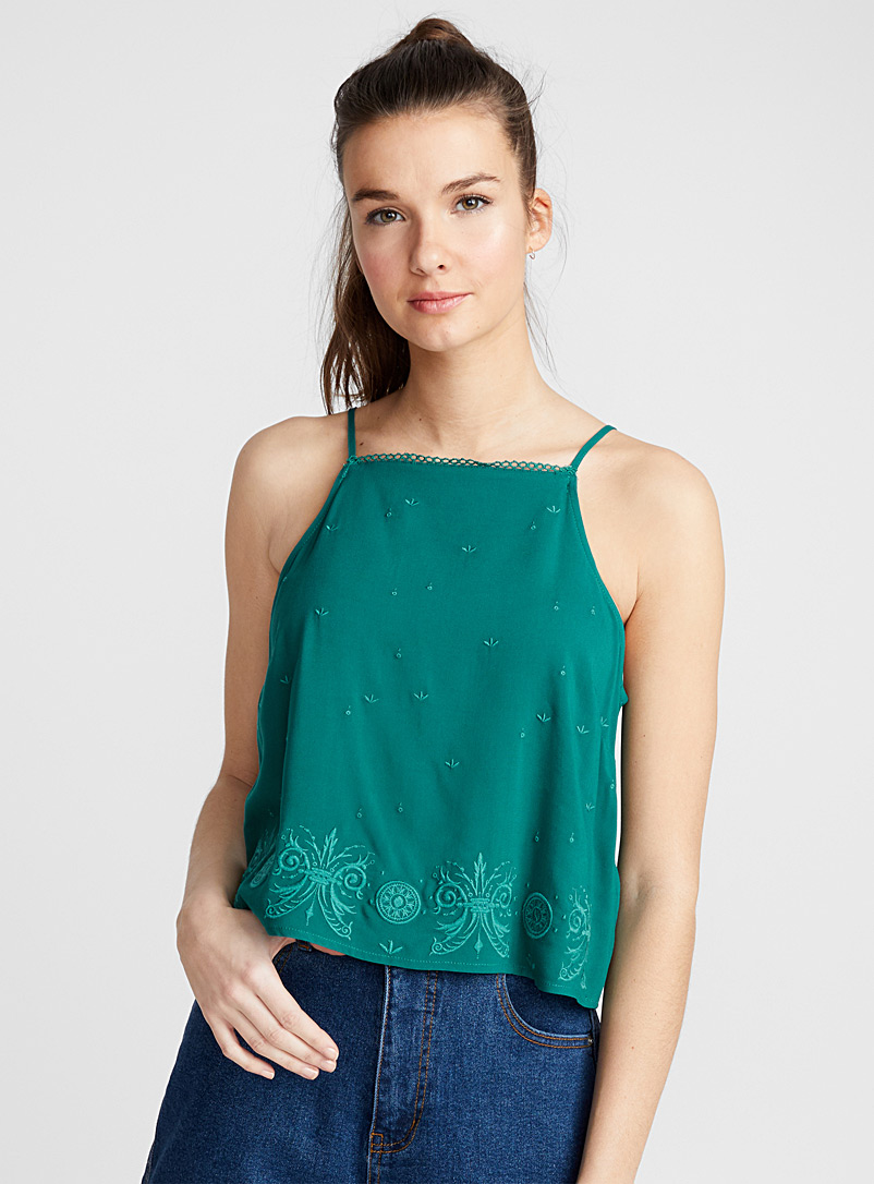 Floral embroidery cami - Crop Tops - Bottle Green