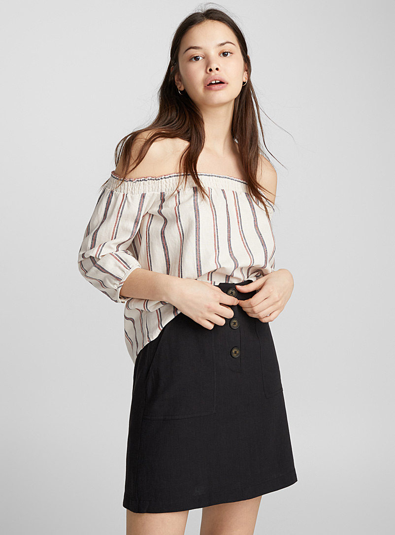 Off-the-shoulder peasant blouse - Blouses - Patterned Red