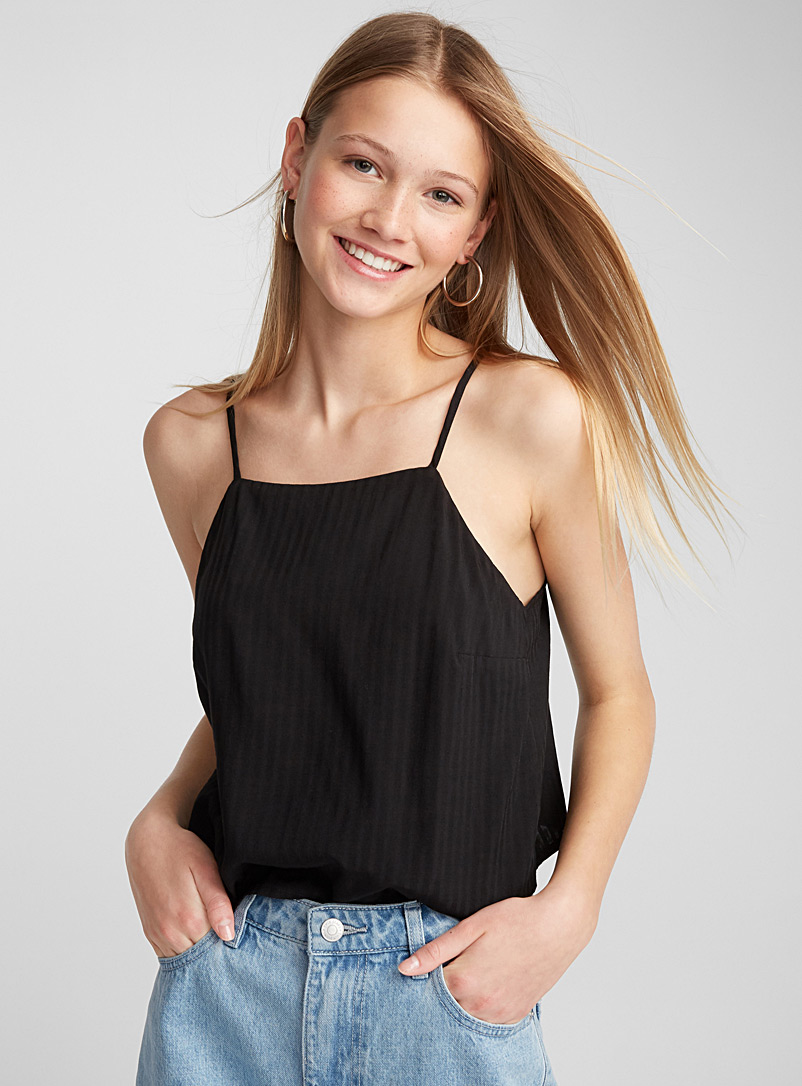 Satiny square-neck cami - Crop Tops - Black
