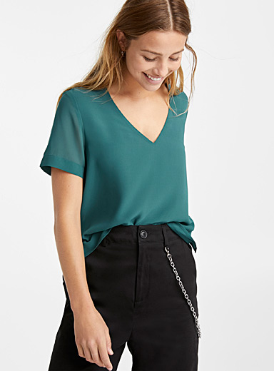 Recycled polyester V-neck blouse
