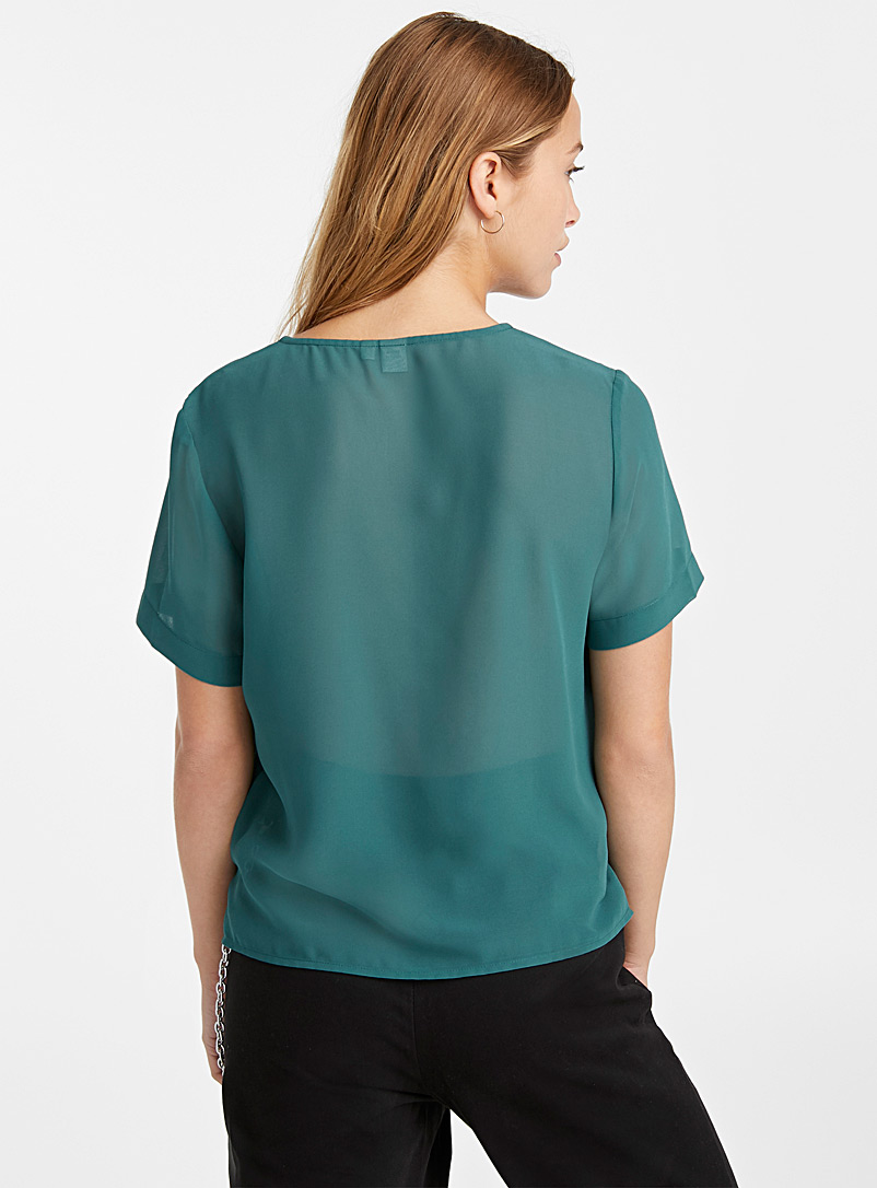 Twik Black Recycled polyester V-neck blouse for women