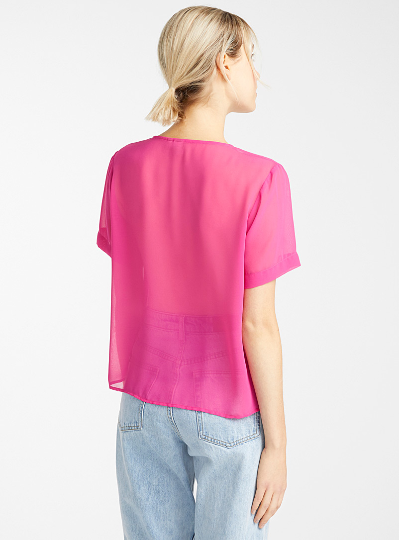 Recycled polyester V-neck blouse - Blouses - Medium Pink