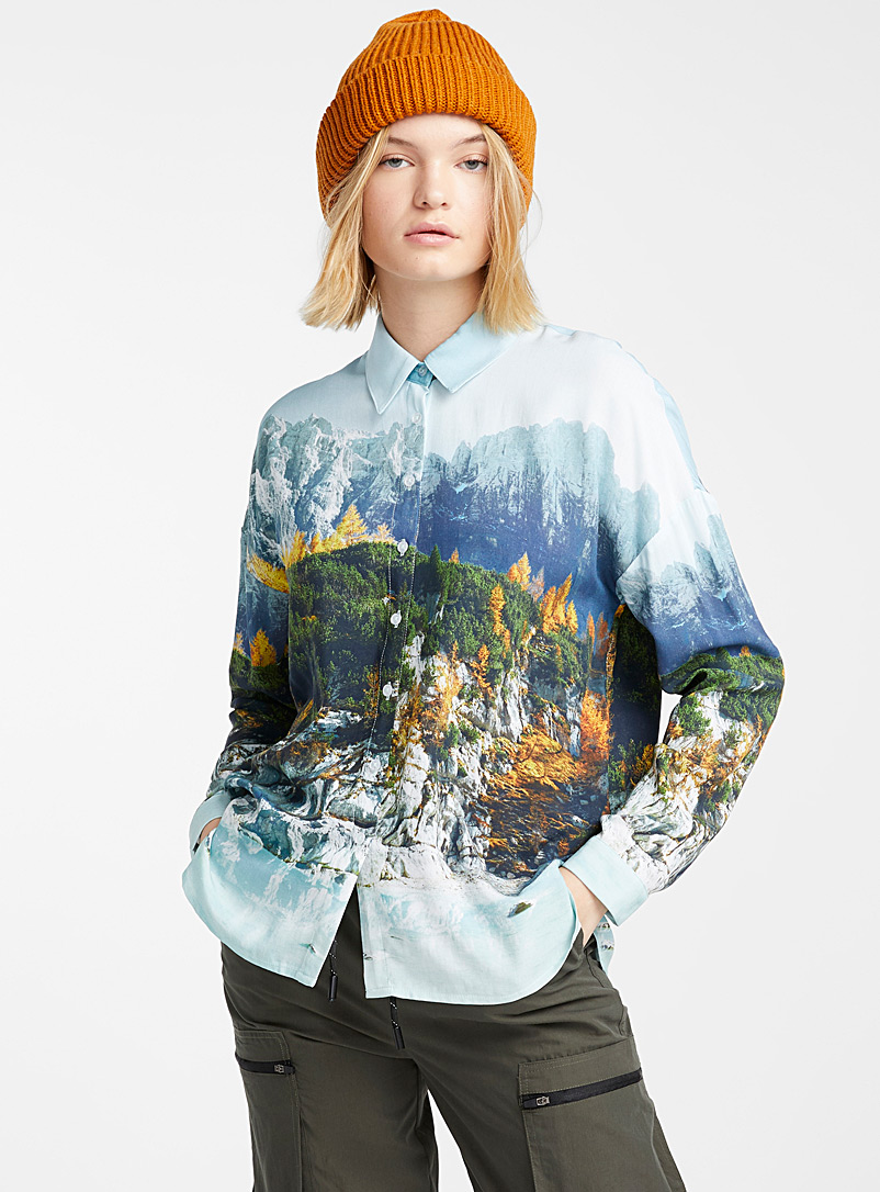 Twik Patterned Blue Nordic forest shirt for women