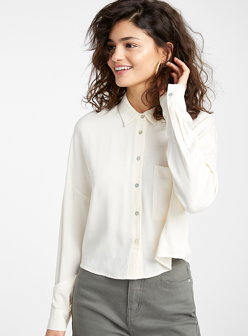 Twik Ivory White Loose cropped shirt for women