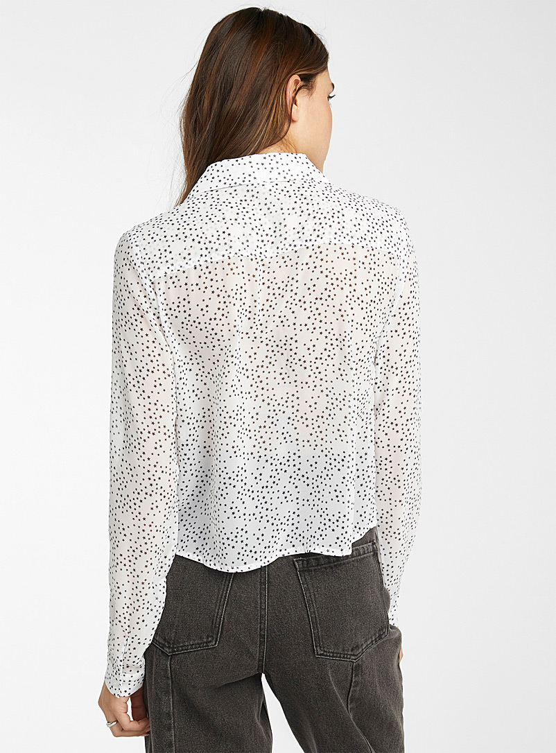 Twik Patterned White Sheer recycled polyester shirt for women