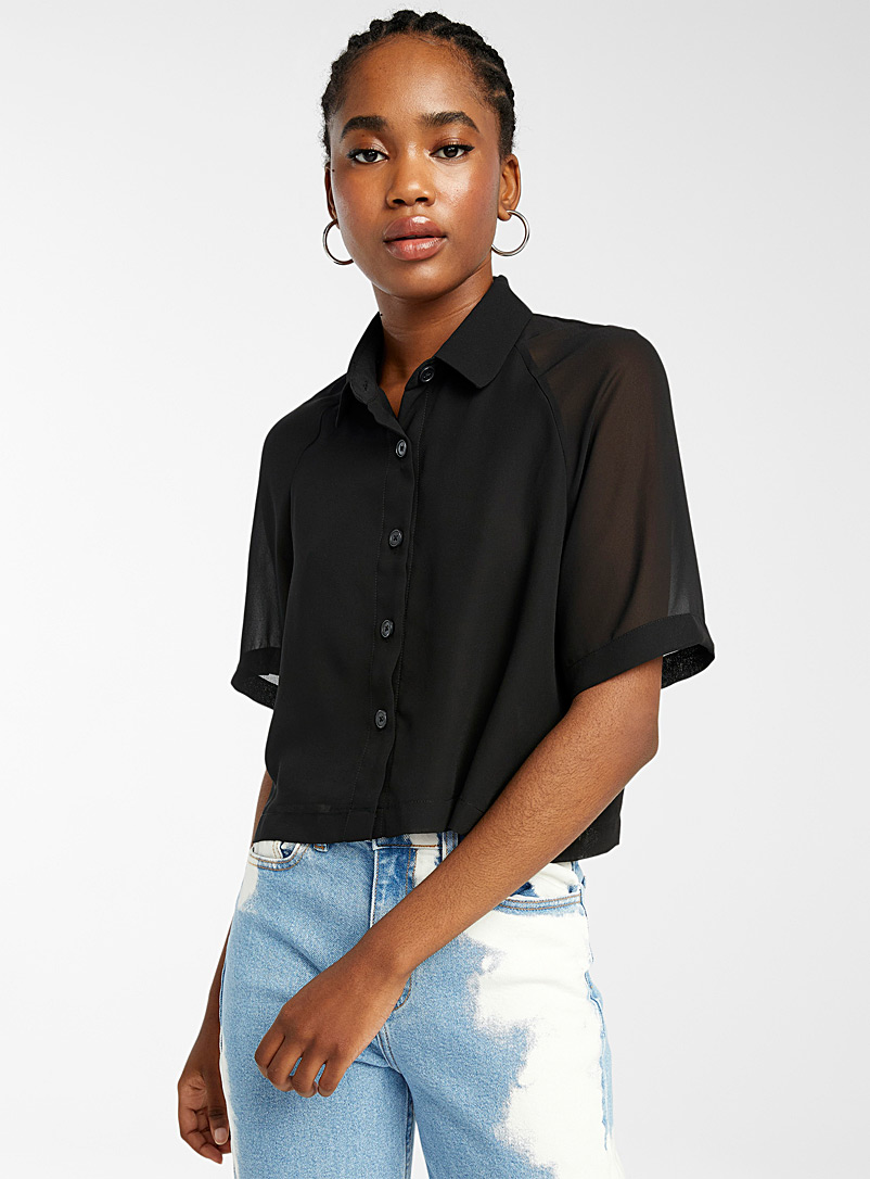 Cropped recycled polyester blouse