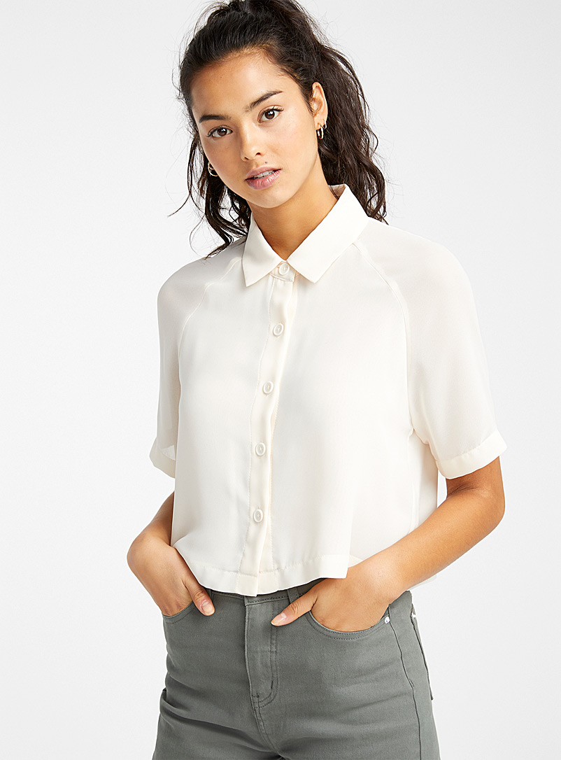 Twik Ivory White Cropped recycled polyester blouse for women