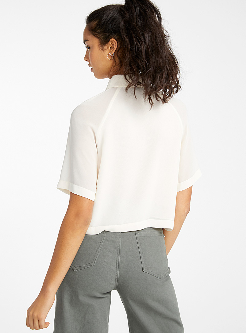 Recycled polyester cropped blouse - Shirts - Ivory White