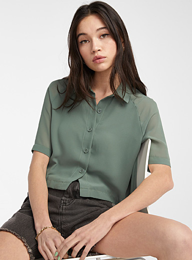 Recycled polyester cropped blouse