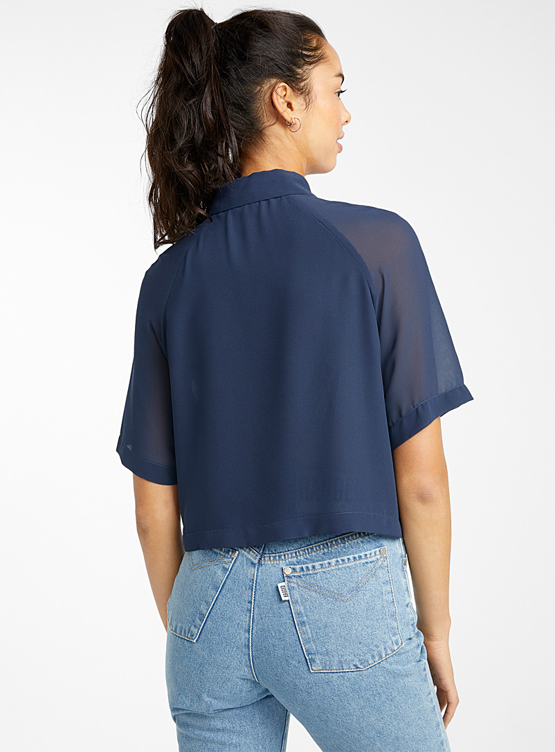 Recycled polyester cropped blouse - Shirts - Marine Blue