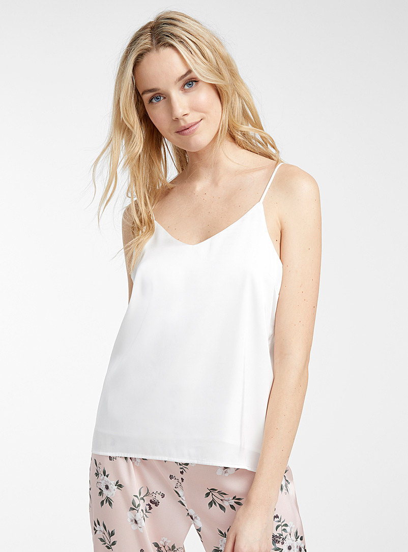 Miiyu Ivory White Satiny lounge cami for women