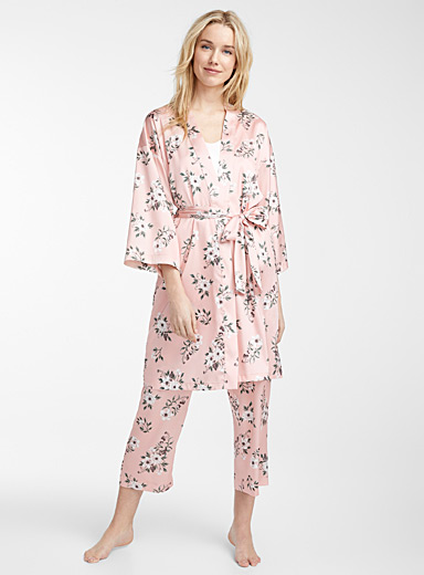 Satiny floral robe