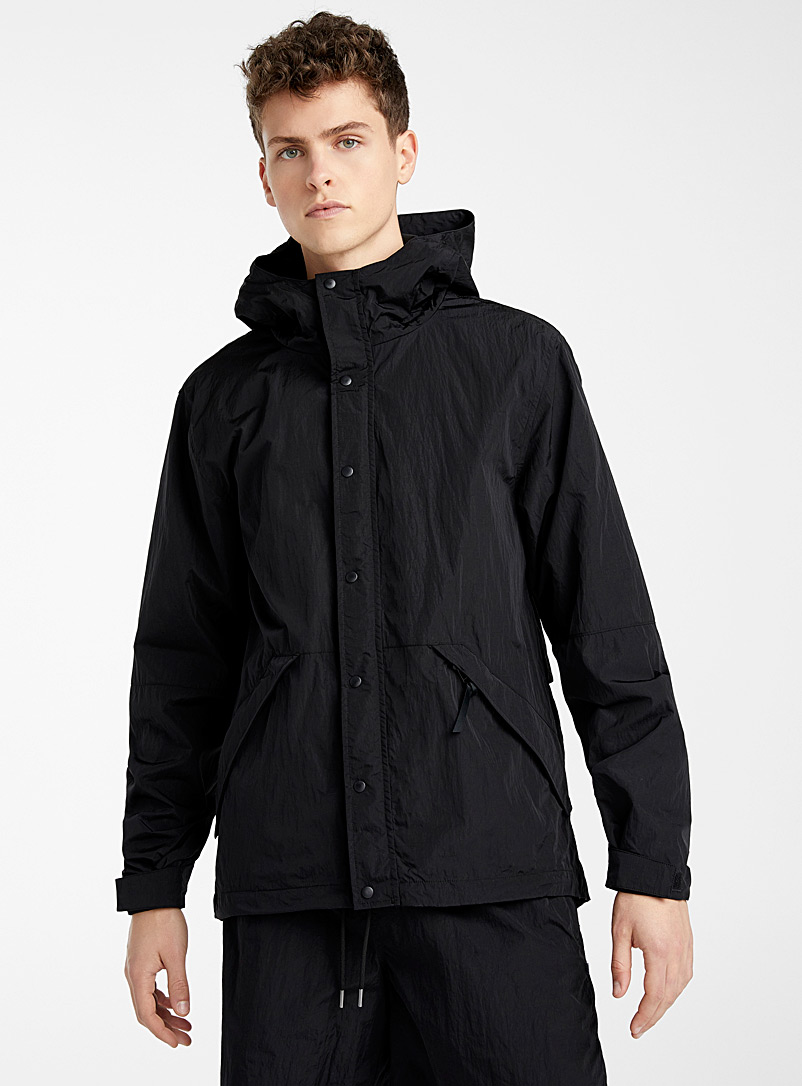 Djab Black Dystopic nylon jacket for men