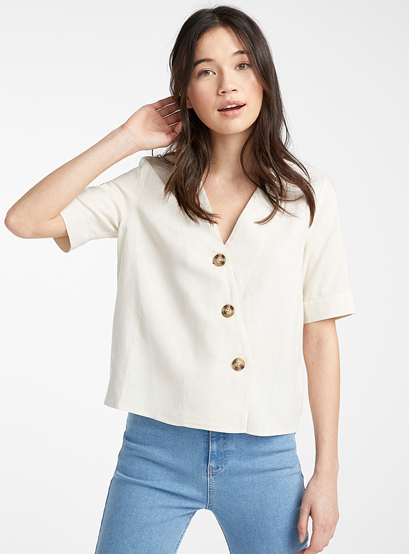 Twik Ivory White Diagonal button linen blouse for women