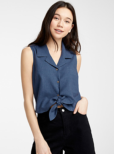 Tied linen bowling cami