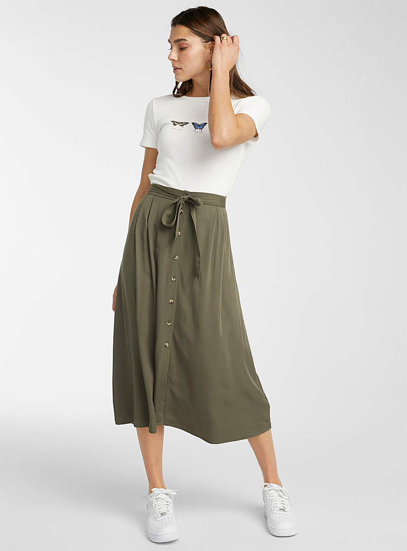 Twik Khaki Eco-friendly viscose belted skirt for women