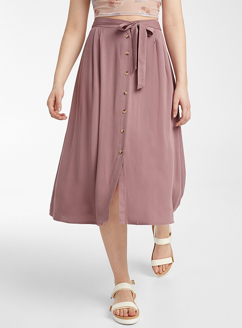 Twik Mauve Eco-friendly viscose belted skirt for women