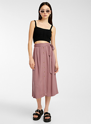 Eco-friendly viscose belted skirt