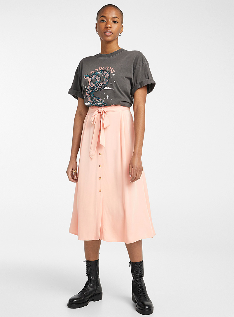 Twik Pink Eco-friendly viscose belted skirt for women