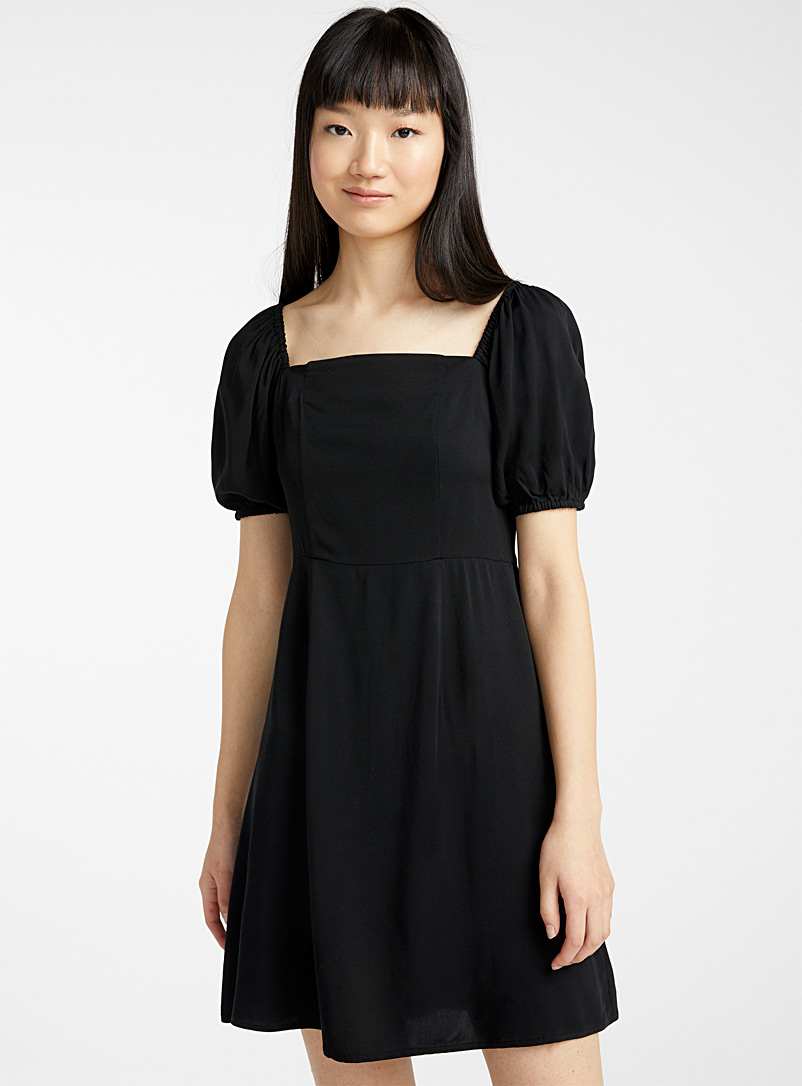 Twik Black Square-neck puff-sleeve dress for women