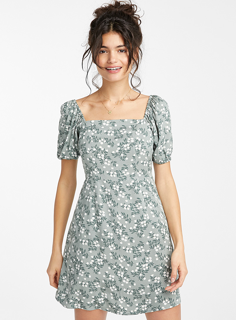 Twik Patterned Green Square-neck puff-sleeve dress for women
