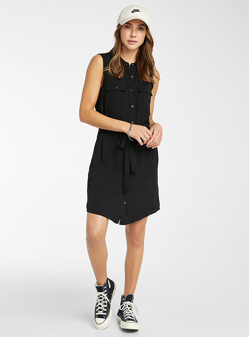 Twik Black Eco-friendly viscose utility shirtdress for women