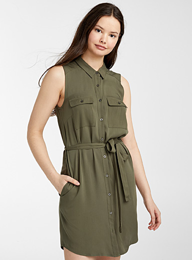Twik Khaki Eco-friendly viscose utility shirtdress for women