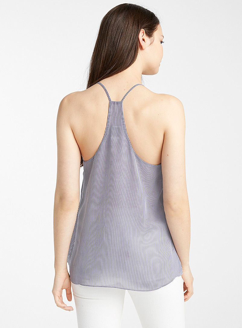 Twik Black Recycled polyester racerback blouse for women